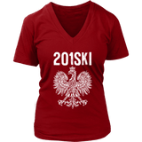 New Jersey Polish Pride - Area Code 201 - District Womens V-Neck / Red / S - Polish Shirt Store