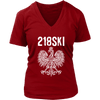Minnesota - 218 Area Code - 218SKI - District Womens V-Neck / Red / S - Polish Shirt Store