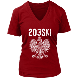Connecticut - 203 Area Code - Polish Pride - District Womens V-Neck / Red / S - Polish Shirt Store