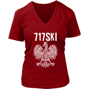 717SKI Pennsylvania Polish Pride - District Womens V-Neck / Red / S - Polish Shirt Store
