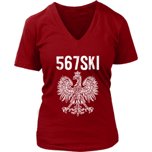 Toledo Ohio - 567 Area Code - Polish Pride - District Womens V-Neck / Red / S - Polish Shirt Store