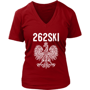Wisconsin Polish Pride - 262 Area Code - District Womens V-Neck / Red / S - Polish Shirt Store