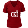 Polish Surname Ending With CKI - District Womens V-Neck / Red / S - Polish Shirt Store