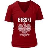 816SKI Missouri Polish Pride - District Womens V-Neck / Red / S - Polish Shirt Store