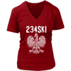 Ohio Polish Pride - Area Code 234 - District Womens V-Neck / Red / S - Polish Shirt Store