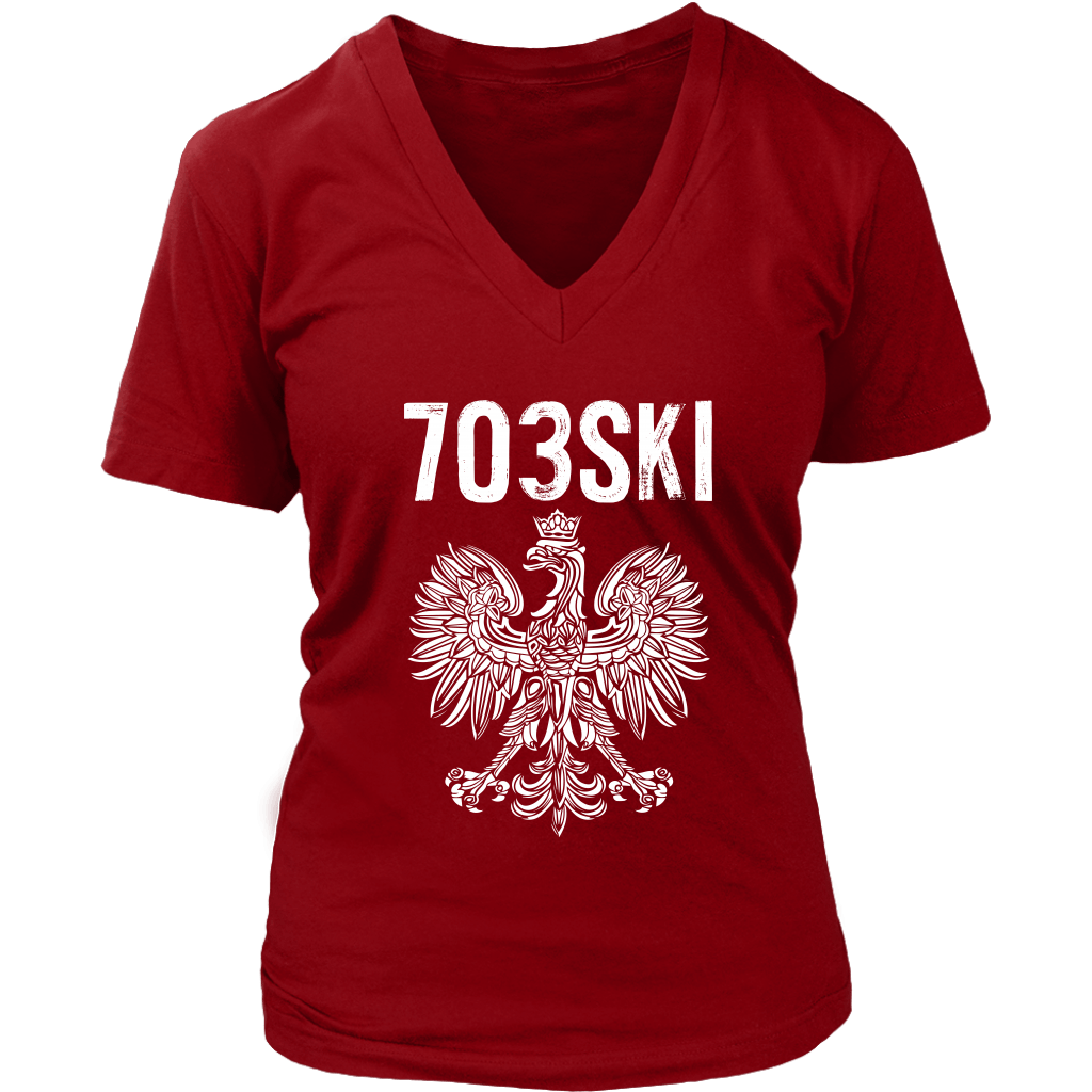 703SKI Virginia Polish Pride - District Womens V-Neck / Red / S - Polish Shirt Store
