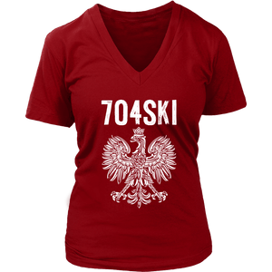 704SKI North Carolina Polish Pride - District Womens V-Neck / Red / S - Polish Shirt Store