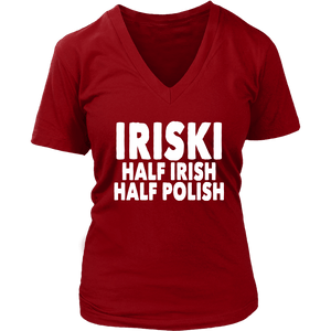 IRISKI Half Irish Half Polish - District Womens V-Neck / Red / S - Polish Shirt Store