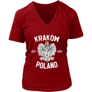 Krakow Poland - District Womens V-Neck / Red / S - Polish Shirt Store