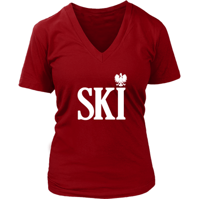 Polish Surnames Ski Womens V-Neck Shirts - District Womens V-Neck / Red / S - Polish Shirt Store
