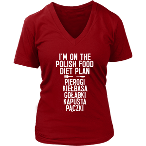 I'm On The Polish Food Diet Plan - District Womens V-Neck / Red / S - Polish Shirt Store