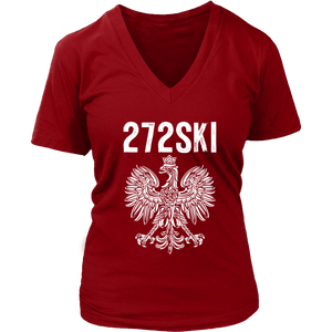 Scranton Pennsylvania - 272 Area Code - District Womens V-Neck / Red / S - Polish Shirt Store