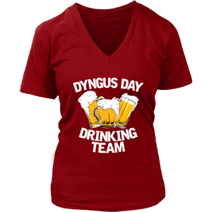 Dyngus Day Drinking Team - District Womens V-Neck / Red / S - Polish Shirt Store