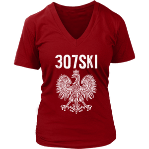 Wyoming - 307 Area Code - Polish Pride - District Womens V-Neck / Red / S - Polish Shirt Store