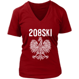 Idaho - 208 Area Code - Polish Pride - District Womens V-Neck / Red / S - Polish Shirt Store