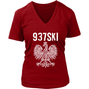 Newark Ohio - 937 Area Code - Polish Pride - District Womens V-Neck / Red / S - Polish Shirt Store
