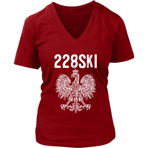 Mississippi Polish Pride - 228 Area Code - District Womens V-Neck / Red / S - Polish Shirt Store