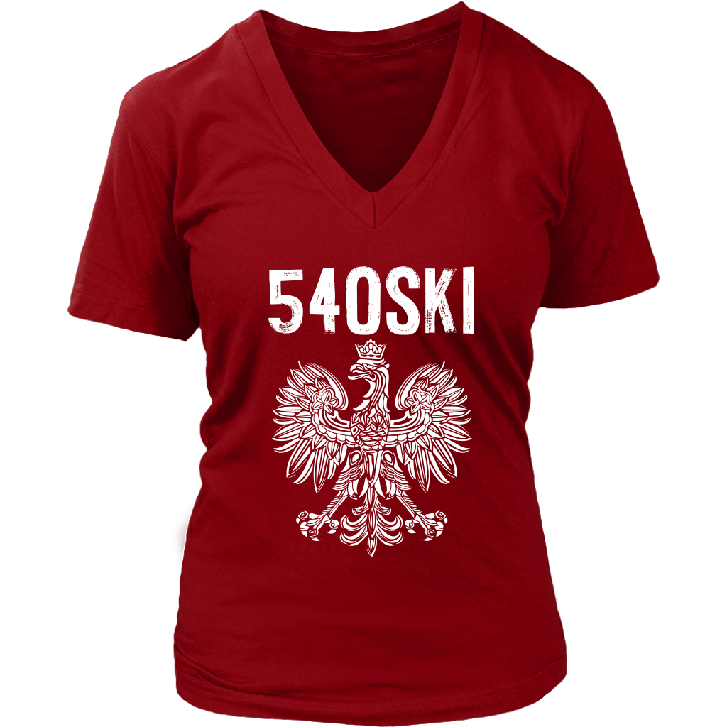 540SKI Virginia Polish Pride - District Womens V-Neck / Red / S - Polish Shirt Store