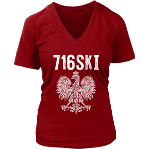 Buffalo NY - 716 Area Code - 716SKI - District Womens V-Neck / Red / S - Polish Shirt Store
