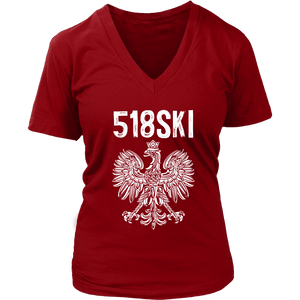 Albany New York - 518 Area Code - Polish Pride - District Womens V-Neck / Red / S - Polish Shirt Store