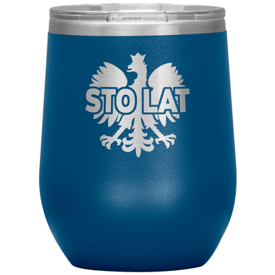Sto Lat Polish Wine Tumbler - Blue - Polish Shirt Store