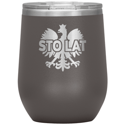 Sto Lat Polish Wine Tumbler - Pewter - Polish Shirt Store