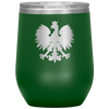 Polish Eagle Insulated Wine Tumbler With Lid - Green - Polish Shirt Store