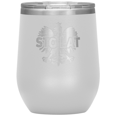 Sto Lat Polish Wine Tumbler - White - Polish Shirt Store