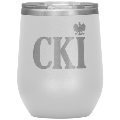 Polish Surname Ending in CKI Wine Tumbler - White - Polish Shirt Store
