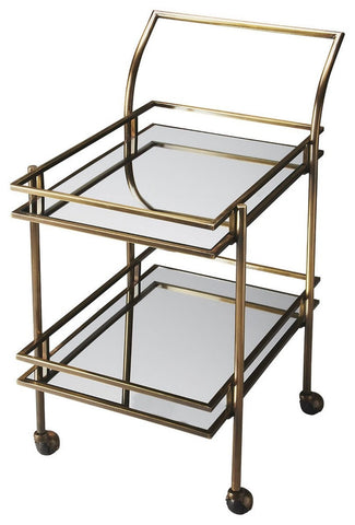 Butler Gatsby Antique Brass Bar Cart - Bar Wheels Serving Carts