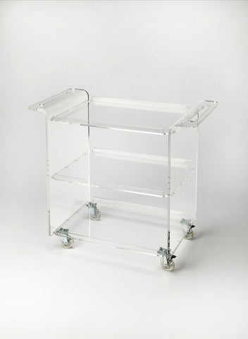 Butler Crystal Clear Acrylic Trolley Server - Bar Wheels Serving Carts