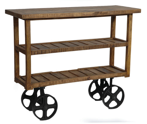 Bengal Manor Mango Wood Industrial Cart - Bar Wheels Serving Carts