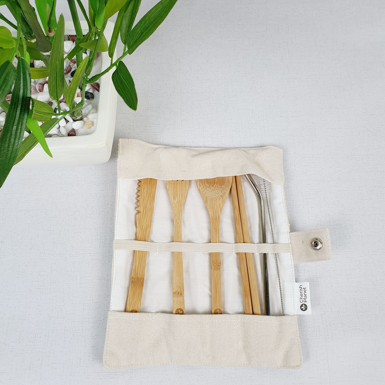 Bamboo & Steel Portable Cutlery Set & Pouch