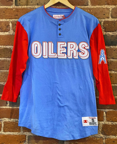 Oilers Mitchell & Ness 3/4 Sleeve Shirt