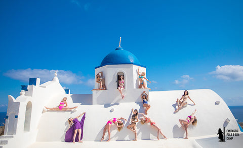 polecamps around the world Santorini greece europe flexmonkey polecamps Flexmonkey polewear amsterdam Netherlands