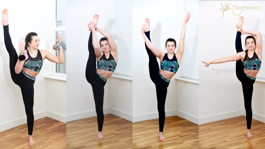 Flexible legs split balancing trick acro yoga girl dutch challenge