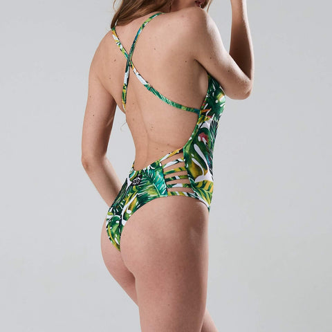 Bodysuit Tropicana Green Fern print - Shark polewear on flexmonkey.nl side