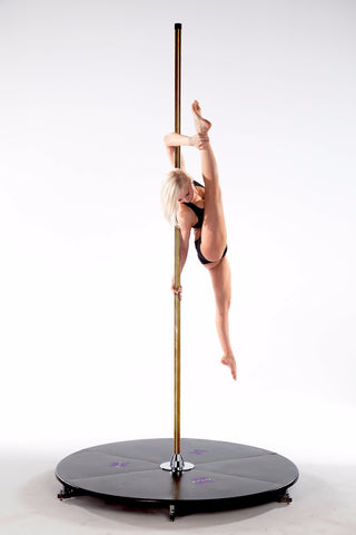 voordelig paaldanspodium polestage Xpole Xstage light 45mm brass shipping within EU en Nederland
