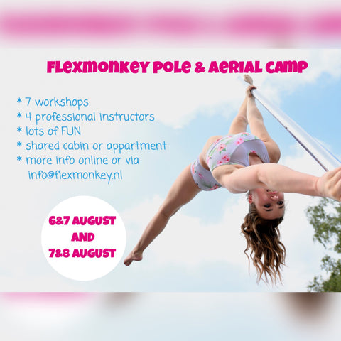 paaldanskamp in nederland met aerial hoop, pole and aerial camp