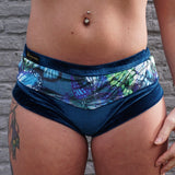 'Velvet Butterfly' apple bum short petrol by Flexmonkey polewear - Flexmonkey Polewear
