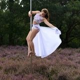 'Joyful Hummingbird' poledance skirt extra long by Flexmonkey polewear - Flexmonkey Polewear