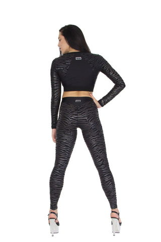 Stickie sticky legging plak paaldanslegging leatherlook zebra black zwart worldwide shipping paradise chick