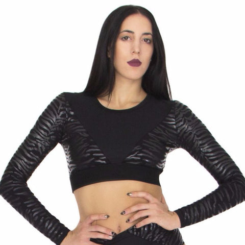 Stickie sticky croptop plak paaldanslegging leatherlook zebra black zwart worldwide shipping paradise chick flexmonkey