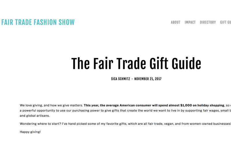 As seen in The Fair Trade Fashion Show: The Fair Trade Gift Guide