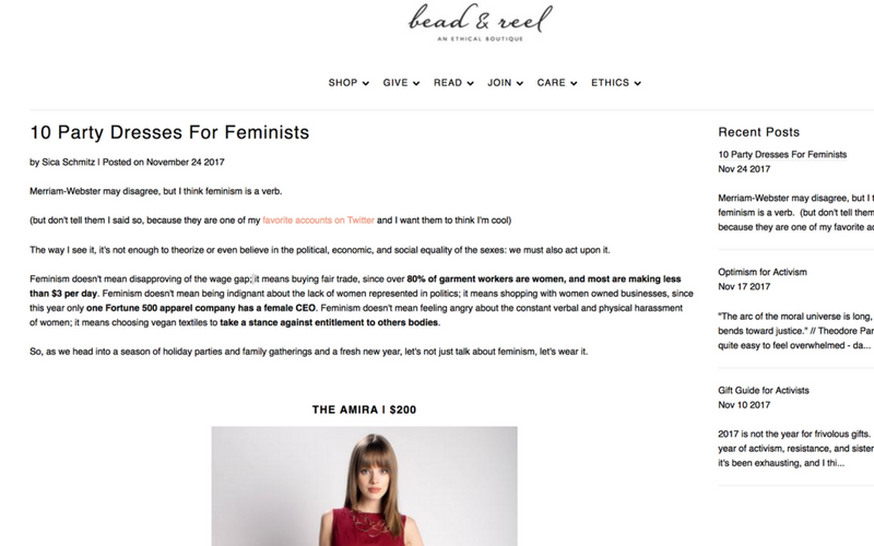 As seen in Bead & Reel: 10 Party Dresses For Feminists