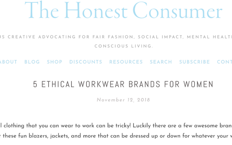 As seen in The Honest Consumer: 5 Ethical Workwear Brands for Women