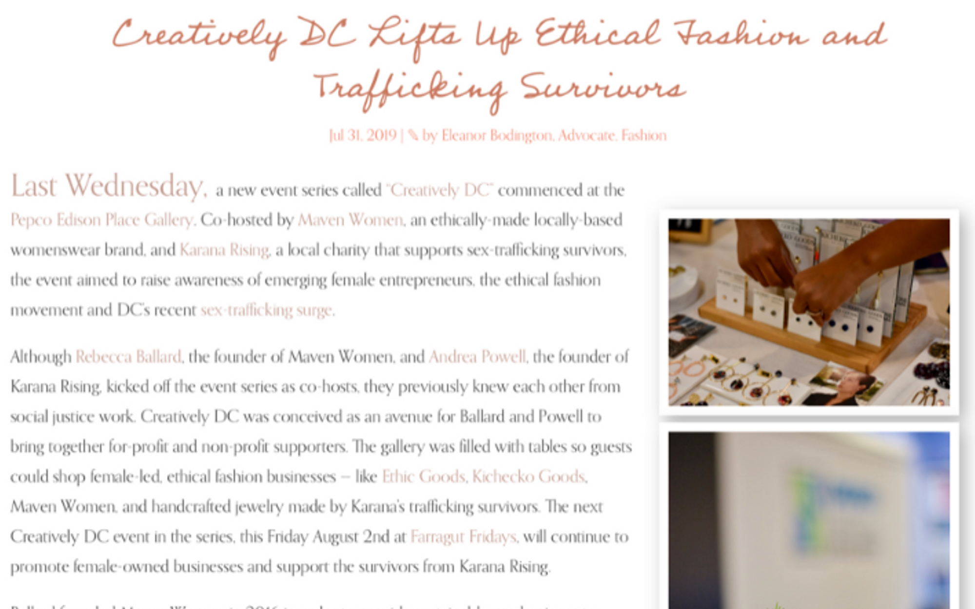 As Seen in Capitally: Creatively D.C. Lifts Up Ethical Fashion and Trafficking Surivors