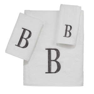 Silver & White Monogrammed Towel Set