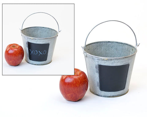 Metal Buckets with Chalkboard Labels