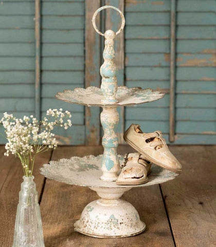 Ruffled Rustic Tiered Display Stand